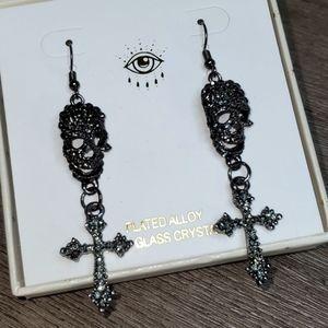 Eye Candy LA Skull and Cross Dangle Earrings